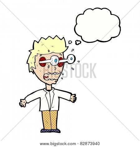 cartoon staring man with thought bubble