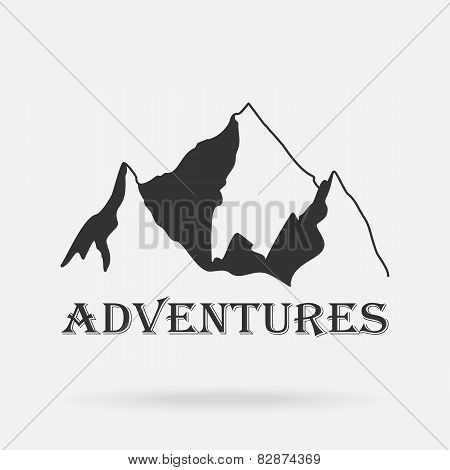 The Three Peaks Vintage Mountains. Adventure Labels. Vector