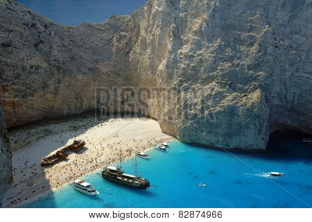 boats and shipwreck beach