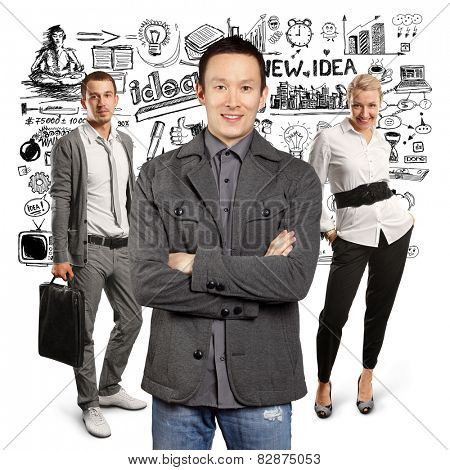 Teamwork concept. Asian man in suit, looking on camera, with folded hands