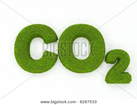 Grass letters spelling C02,isolated