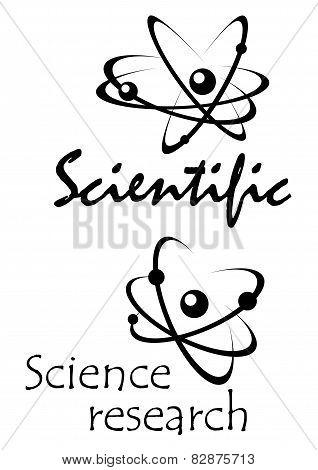 Molecular atom models abstract black icons