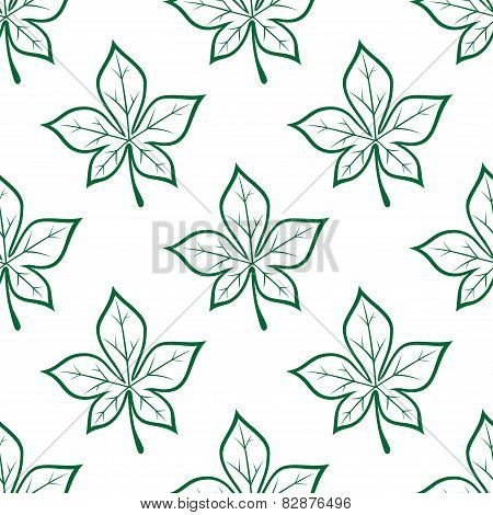 Green stylized chestnut leaves seamless background