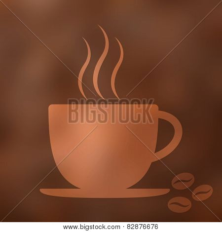 Coffee cup icon with steam beans blurred background. Vector illustration.