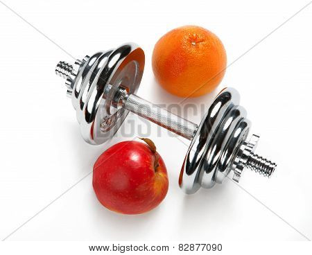 Red apple, orange citrus and dumbbell
