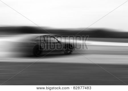 Drift Car Motion Blur On Hard Black And White