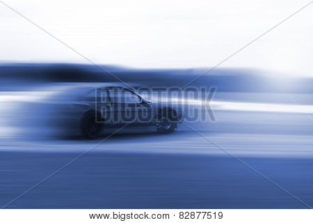 Drift Car Motion Blur In Blue Colour