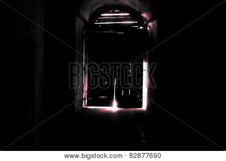 Mysterious Door, Secret Entrance Or Exit Red Light