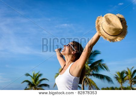 Woman Enjoying Tropical Vacation Travel And Freedom