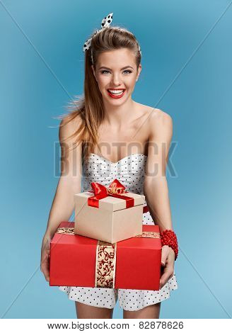 Happy woman make a present