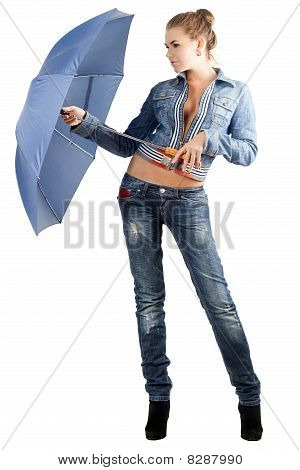 Leggy Young Woman In A Denim Suit