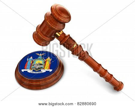 Wooden Mallet and flag Of New York (clipping path included)