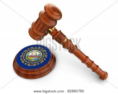 Wooden Mallet and flag Of New Hampshire (clipping path included)