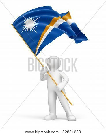 Man and Marshall Islands flag (clipping path included)