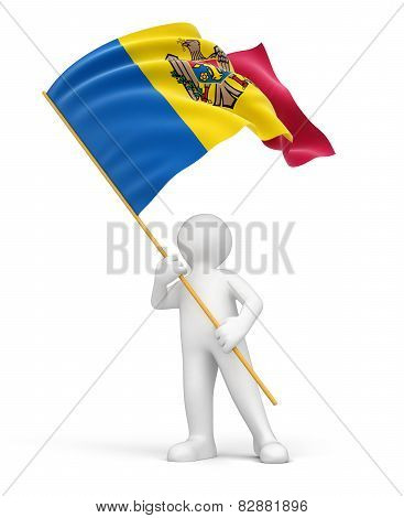 Man and Moldavian flag (clipping path included)