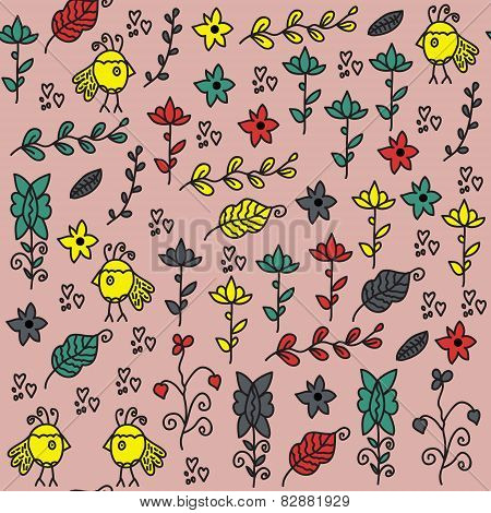 Kids Seamless Pattern With Funny Birds And Seamless Pattern In Swatch Menu, Vector Image. Colored  C