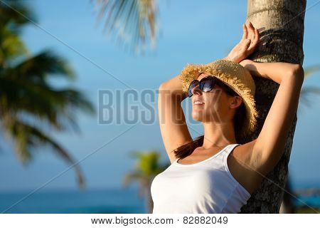 Woman Relaxing On Summer Tropical Caribbean Travel