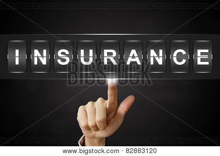 Business Hand Clicking Insurance On Flipboard
