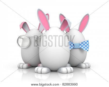 Group of rabbits in the eggs