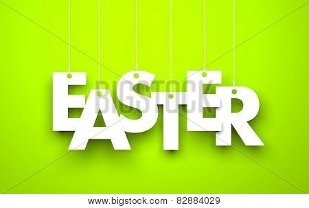 Easter. Text hanging on the rope