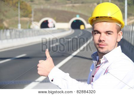 Young engineer near the tunnel