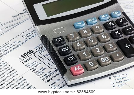 Us Individual Tax Return Form 1040 Close Up With Calculator