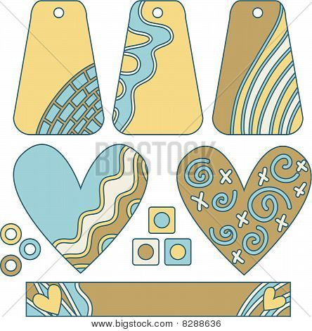 Yellow and blue modern vector tags and hearts