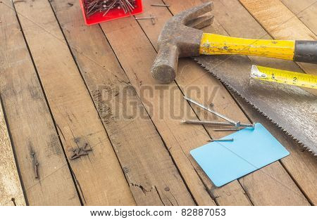 Group Of Carpentry Tools On Wood