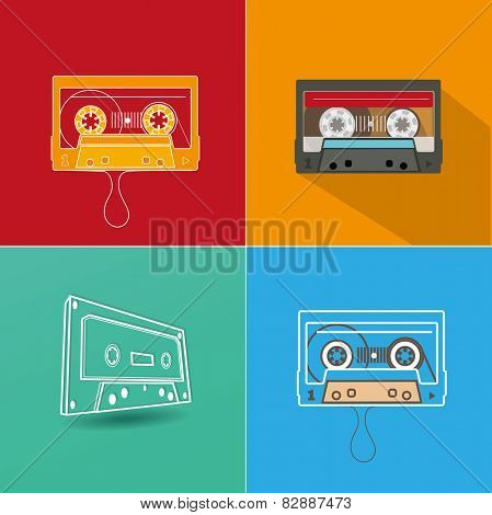 Audio tape. Flat design vector illustration on red background.