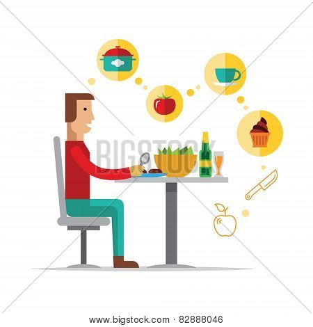 vector cartoon character of a man choosing between healthy and fast food