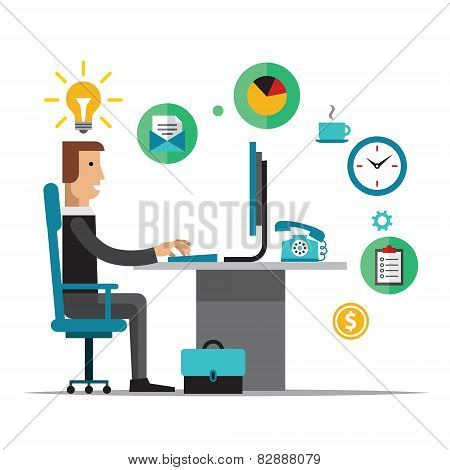 Flat design vector illustration of office workplace. Business man working at computer. Cartoon char