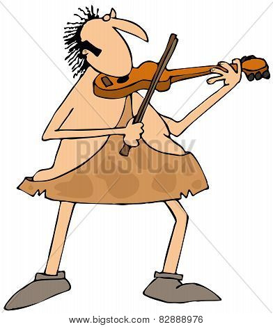 Caveman playing a violin