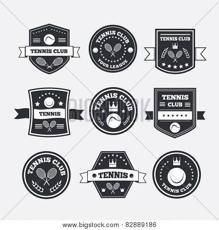 Tennis Sporting Vintage Emblems, Labels Banners Or Logo
