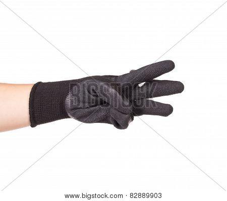 Black rubber protective glove.