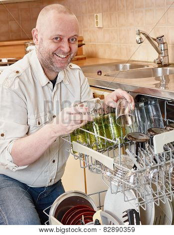 Man And Dishwasher