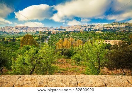 Agrigento City Seen From The Valley Of Temples