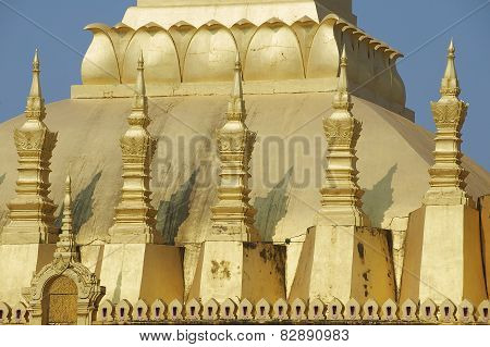 Exterior detail of the Pha That Luang stupa in Vientiane Laos.