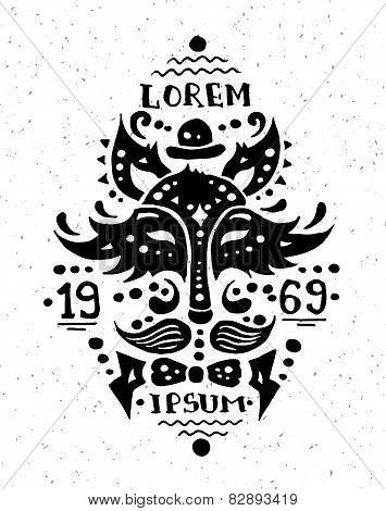 Illustration of vintage grunge hipster label with fox