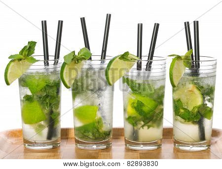 Mojito cocktails isolated on white