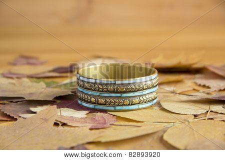 Bracelet on the leaves