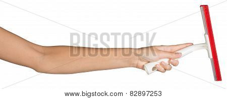 Female hand holding squeegee