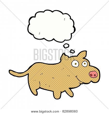 cartoon happy little dog with thought bubble