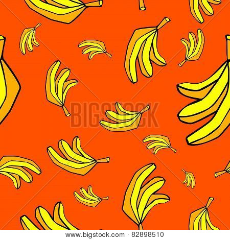 bananas seamless pattern background, cartoon cheerful  bananas, sweet kids background