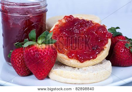 Strawberry Jam on English Muffins