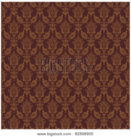 Vintage background  vector illustration. Damask seamless floral pattern.
