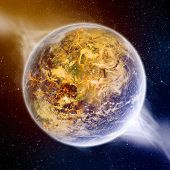stock photo of meteorite  - View of the planet Earth from space during meteorite impact - JPG