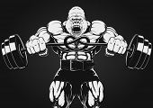 pic of gorilla  - Vector illustration of an angry gorilla with a barbell - JPG