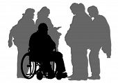 picture of wheelchair  - Elderly people with wheelchair on white background - JPG