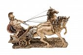 foto of chariot  - Bronze statuette of the Roman war in a chariot with two horses isolated on a white background - JPG