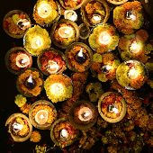 foto of gang  - Close up of Holy Lights on the Banks of Ganges Varanasi India - JPG